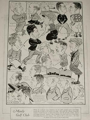 Vintage 1935 MANLY GOLF CLUB, Sydney, Members Caricatures by Kerwin Maegraith