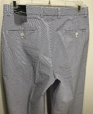 BROOKS BROTHERS Elliot Men's Seersucker Pants 33 X 30 Pleated Cuffed Relaxed NEW