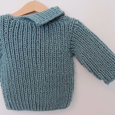 Vintage OOAK 70s Blue Baby Unisex Hand Knit Sweater 18 M