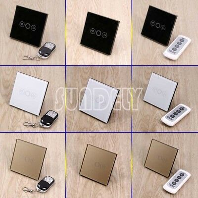 1Gang 1Way Dimmer Tempered Glass Touch Light Wall Switch Panel & Remote Control
