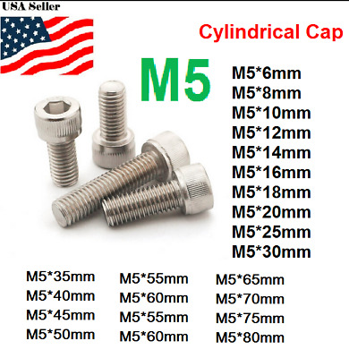 M5 metric 6-80mm Hex bolt Socket Cylinder Stainless Steel Allen Screw 5mm
