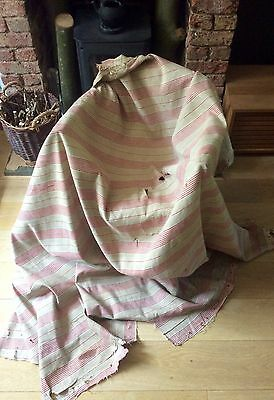 Antique 1930s French Ticking Fabric Timeworn Distressed Rustic Red Stripe