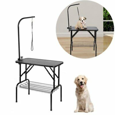 Foldable Pet Dog Grooming Trimming Table Adjustable Portable Arm NonSlip Surface