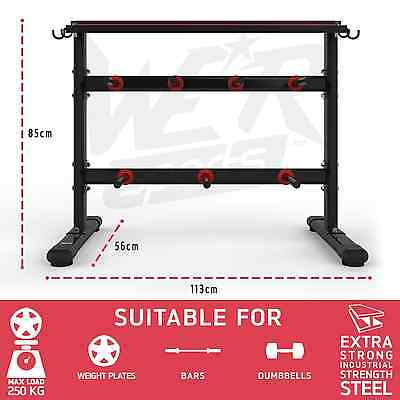 Dumbbell & Weight Plate Barbell Bar Storage Rack Stand Holder Home Gym Workout