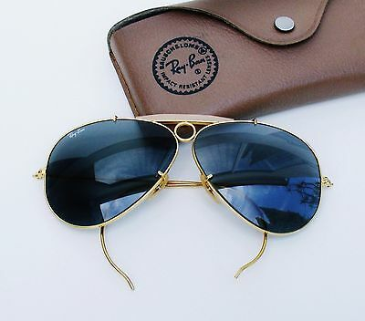 Vintage B&L Ray Ban USA Aviator Shooter Blue Changeables 62mm Sunglasses w/Case