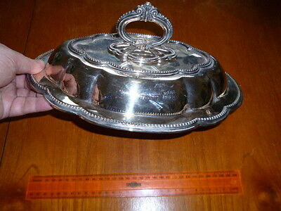 Silver plate serving dish with lid, free postage Australia wide