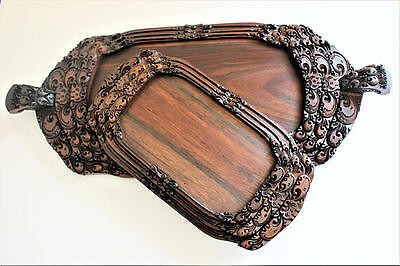 Hand Carved Oriental Serving Tray Set x 6 - Solid Wood Fine Dining Rare Antique