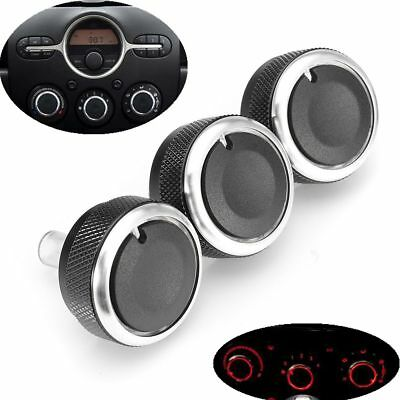 3x A/C Switch Knob Heater Climate Control Buttons Dials Frame For Mazda 2 Demio