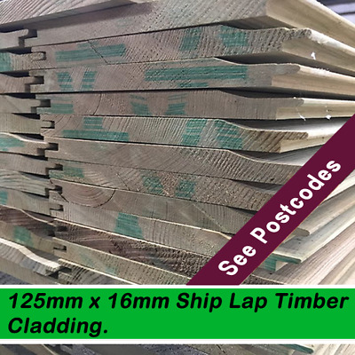 Treated green shiplap cladding nominal size 16mm x 125mm Price per mt £1.19
