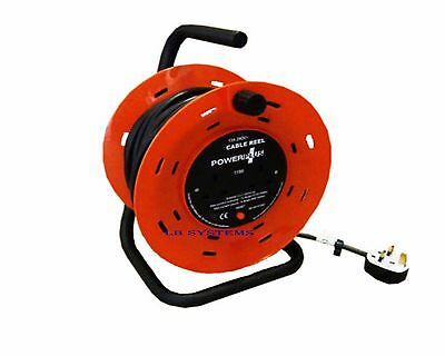 4 Way Heavy Duty Cable 50M Meter Extension Reel Lead Mains Socket 13Amp