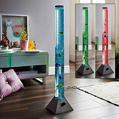 Colour Changing LED Water Bubble Fish Floor Tube Lamp Light Novelty Sensory Mood