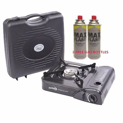 Portable Camping Gas Stove Cooker With Carry Case+ 2 Butane Gas Refill Bottles
