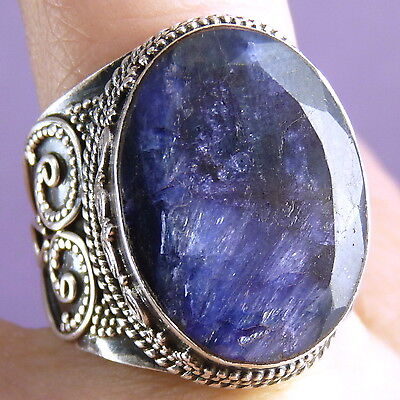 Gemstone Statement Ring Size US 9 SILVERSARI Solid 925 Silver INDIAN SAPPHIRE