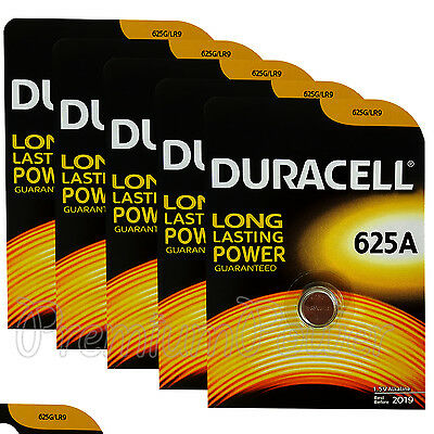 5 x Duracell Alkaline 625A 1.5V batteries 625G LR9 EPX625 E625G Key fob EXP:2019