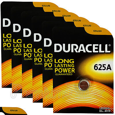 6 x Duracell Alkaline 625A 1.5V batteries 625G LR9 EPX625 E625G Key fob EXP:2019