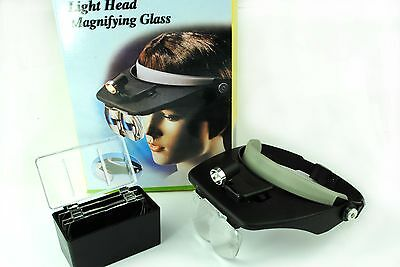 Headband Magnifier, Adjustable with Light & 4 Lenses 1.2x 1.8x 2.5x 3.5x V5097