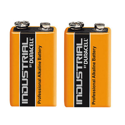 2 X Duracell Industrial 9V PP3 Block Alkaline Batteries MN1604 Replaces Procell