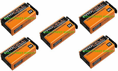 5 X Duracell Industrial 9V PP3 Block Alkaline Batteries MN1604 Replaces Procell