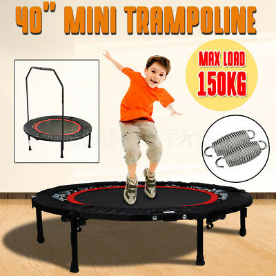 40 Inch Mini Trampoline Super Load 150KG Exercise Handrail Cardio Indoor Outdoor