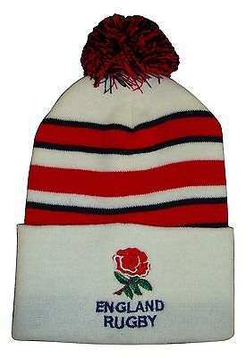 England Rugby Bobble Hat  - White Stripe