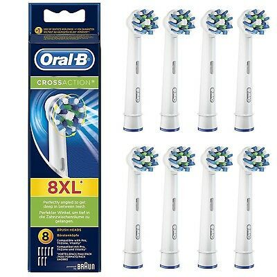 Braun Oral B CROSS ACTION Replacement Electric Toothbrush Heads 2, 4 or 8 NEW
