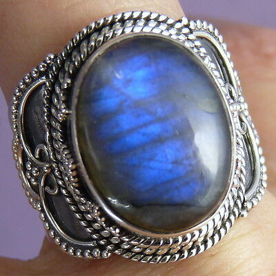 Gemstone Statement Ring Size US 9 SILVERSARI Solid 925 Stg Silver LABRADORITE