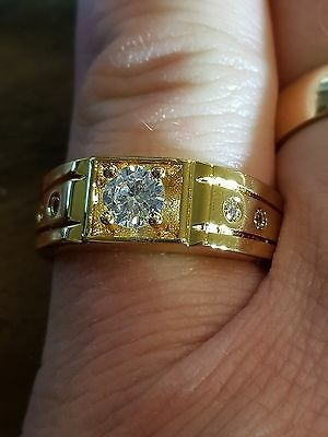 mens  style c z 18ct yellow gold filled ring size us 9.5