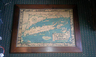 Antique Historical Color map  Long Island New York Smith Foster 1933 Framed