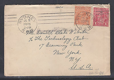 KGV 1d RED AND 2d ORANGE ON COVER 1921  TO USA