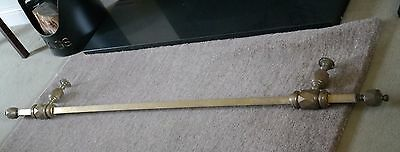 Antique Victorian Brass Curtain Pole with Finials - 173cm