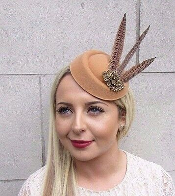 Nude Tan Brown Bronze Pheasant Feather Pillbox Hat Hair Fascinator Races 3674