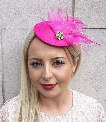 Hot Pink Fuchsia Gold Feather Fascinator Pillbox Hat Races Wedding Hair 3675