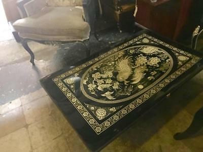 Vintage Black Laquer Mother Of Pearl..low Folding Table..wall Panel..peacocks