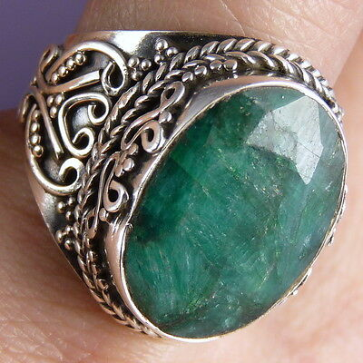 Filigree Vintage Gem Ring Size US 8 SILVERSARI Solid 925 Silver INDIAN EMERALD
