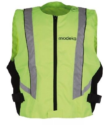 modeka High Visibility Vest 4XL Neon Yellow Motorcycle Safety Vest Reflector