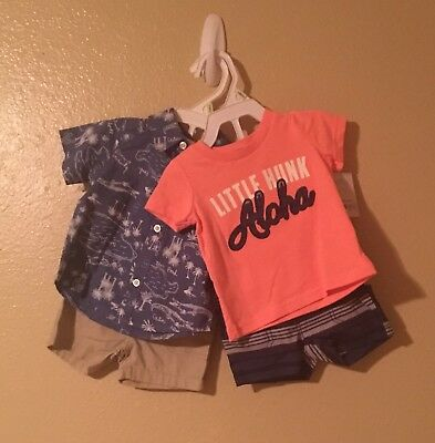 NWT Lot Of 2 Carters Boys Shirt And Shorts Sets, Size 3 Months