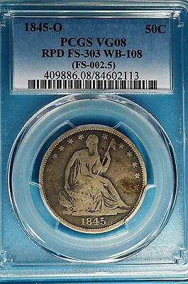 1845-O Seated Liberty Half Dollar PCGS VG08-Repunched Date, Nice Looking Example