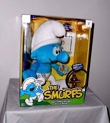 THE SMURFS 50th ANNIVERSARY SPECIAL EDITION SET, PLUSH DOLL, GOLD FIGURE & DVD