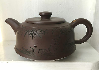 Yixing Chinese Purple Clay Teapot - Signed - Scholar with Book - 1 cup/yin yang