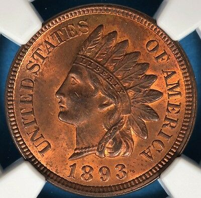 1893 Indian Head Cent NGC MS63RB- Nice Patina, Eye Appeal