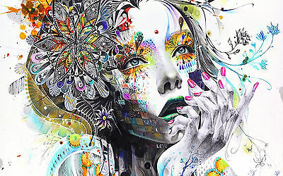 """Flower Girl Abstract Large Canvas Print  A1 30"""" x 20"""""""