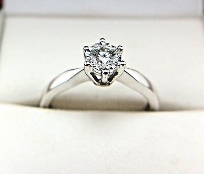 9CT White Gold Diamond Solitaire Engagement Ring + Quality Analysis Report