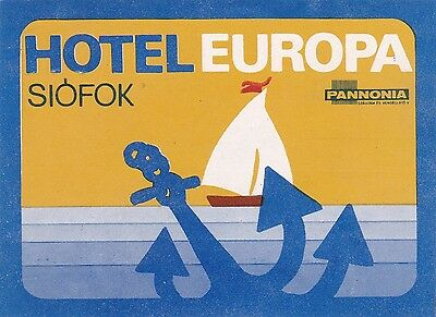 Hungary Siofok Hotel Europa Vintage Luggage Label sk3664