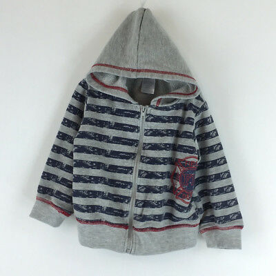Boys Sweater Baby Essentials Blue Striped Fire Depaterment Hoodie 24 Months Gray