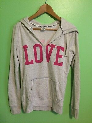 Victoria Secret LOVE PINK Light Gray/ Pink Pullover Hoodie Size Small