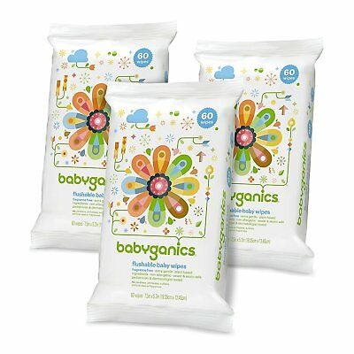 Babyganics Flushable Baby Wipes, Fragrance Free, 60 Count - Packaging May Vary