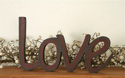NEW LOVE Word Wood Wooden Sign Freestanding Primitive Country Rustic Burgundy