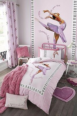 Catherine Lansfield Ballerina Quilt Cover Pink Girls Full Bedding Set FREE P&P