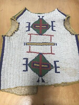 Full Beaded Child's Sioux Plains Vest 1890s Old Colors