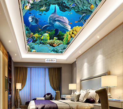 3D Seabed Dolphin 84 Ceiling WallPaper Murals Wall Print Decal Deco AJ WALLPAPER